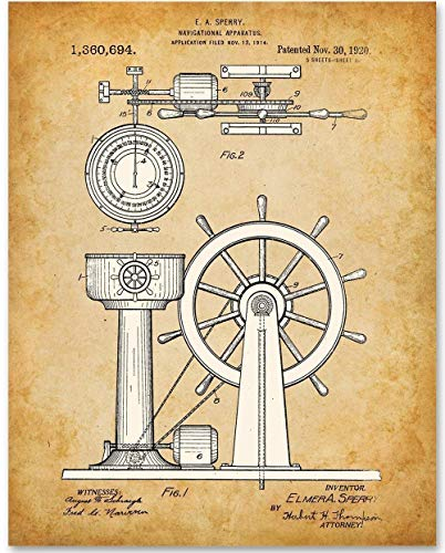 (Captain's Wheel - 11x14 Unframed Patent Print - Makes a Great Nautical Beach House Decor Under $15)