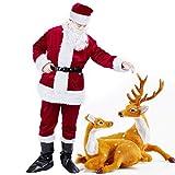 Dolloly Christmas Santa Suit Adults Men Santa Claus Suit Deluxe Velvet Santa Costume 6Pcs