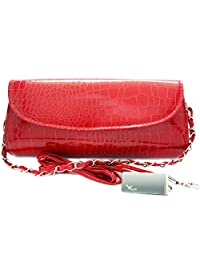 Missy K Crocodile Skin Embossed Faux Leather Clutch Purse - Red, with detachable strap and belt + kilofly Money Clip