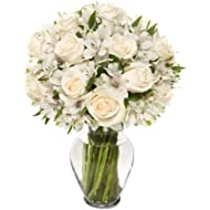 Benchmark Bouquets Elegance Roses and Alstroemeria, With Vase