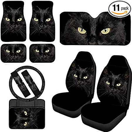 1 Steering Wheel Covers+2 Seatbelt Pads+2 Headrest Protectors+2 Cup Mats+3 Keychains Fits All Cars Woisttop Black Cat Universal Fit 10 Packs for Women Gifts