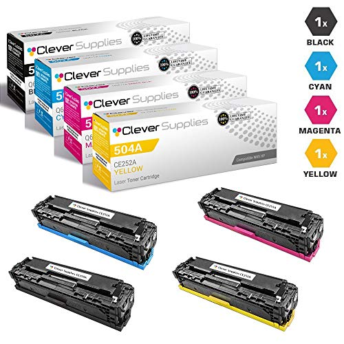 - CS Compatible Toner Cartridge Replacement for HP CP3525n CE250A Black CE251A Cyan CE252A Yellow CE253A Magenta HP 504A COLOR LASERJET CM3530 CM3530FS CP3525DN CP3525X CP3520 CM3530FS MFP 4 Color Set