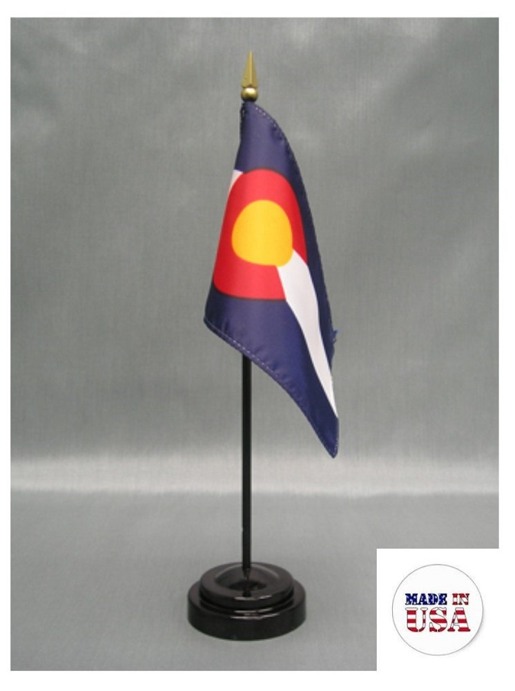 BOX of 12 State of Colorado 4''x6'' Miniature Desk & Table Flags Includes 12 Flag Stands & 12 American Made Small Mini Colorado Stick Flags