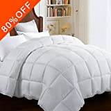 Alternative Comforter - King Quilted Comforter Duvet insert with Corner Tabs 2100 Series, 7D Down Alternative fill Warmfit -Tech All-Season Comforter, White, King(90x102 Inch)