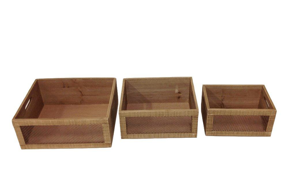 Evergreen - Juego de 3 plantas de madera para decoración del hogar, 29(25/21, 5) x 23 (19, 5/14, 5) x 12, 5 (12/11, 5 cm): Amazon.es: Jardín