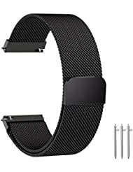 Fullmosa Compatible Gear S3 Bands, Milanese Loop 22mm Watch Band Quick Release Compatible Samsung Gear S3 Frontier/Classic/Huawei Watch 2 Classic Band, Black
