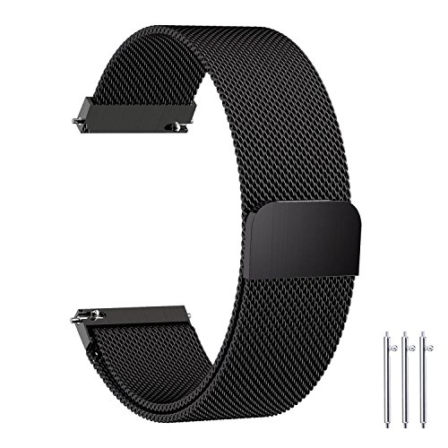 Fullmosa Compatible Samsung Gear S2 Classic Watch Band, 7 Colors 20mm Milanese Bracelet Watch Strap with Quick Release Pins Compatible Huawei Watch 2 /Moto 360 2nd Gen,Black by Fullmosa