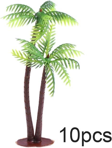 Amazon Com Daweif 10 20pcs Plastic Mini Craft Leaf Bonsai Coconut Palm Tree Miniature Artificial Plants Micro Landscape Decoration 10pcs Home Kitchen