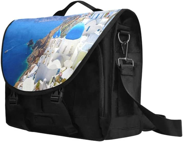 Woman Shoulder Bag White Architecture Oia Village On Santorini Multi-Functional Laptop Case Briefcase Fit for 15 Inch Computer Notebook MacBook