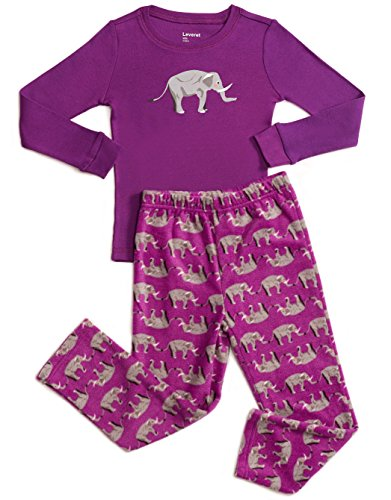 Fleece & Cotton 2 Piece Pajama Elephant Purple 5 Years