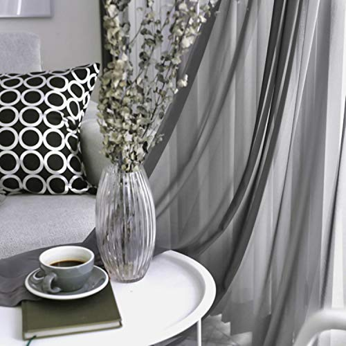 Grey Sheer Curtains 96 inches Long, Farmhouse Grey Sheer Curtains for Living Room Decor, Rod Pocket Window Curtains for Bedroom, 2 Panels 52