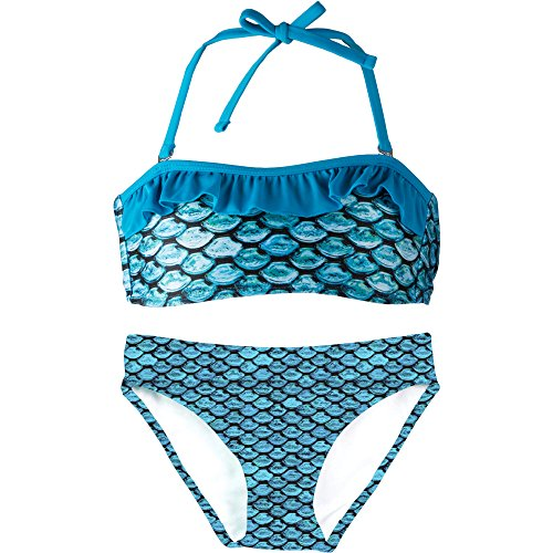 - Fin Fun Bandeau Bikini Set, Tidal Teal Top, Tidal Teal Bottom, Girl's Medium
