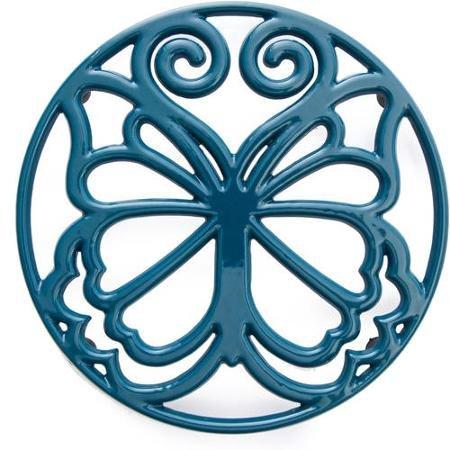 Pioneer Woman Timeless Beauty Butterfly 8 Teal Blue Cast Iron Enamel Trivet by The Pioneer Woman (Butterfly Trivet)