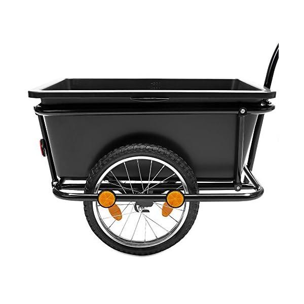 Deuba Rimorchio per bicicletta vasca in plastica rimovibile 90 L carrello per bici trasporto oggetti 80Kg 2 spesavip