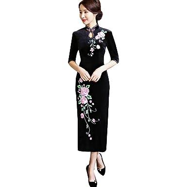 93eb11e8e0 Amazon.com: ZooBoo Chinese Cheongsam Qipao Dress - Oriental Traditional  Wedding Outfit Clothing Costume for Girls Women - Velvet: Clothing