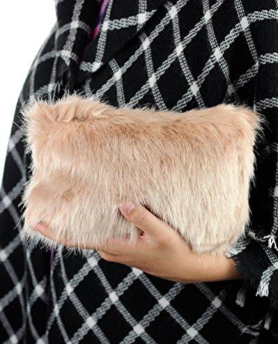 Faux Fuzzy Bag C Women's Purse C Taupe Clutch Crossbody Evening Shoulder Fur tq4XOq