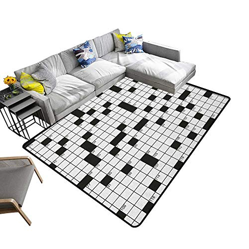 Word Search Puzzle Non-Slip Floor mat Classical Crossword Puzzle with Black and White Boxes and Numbers 78