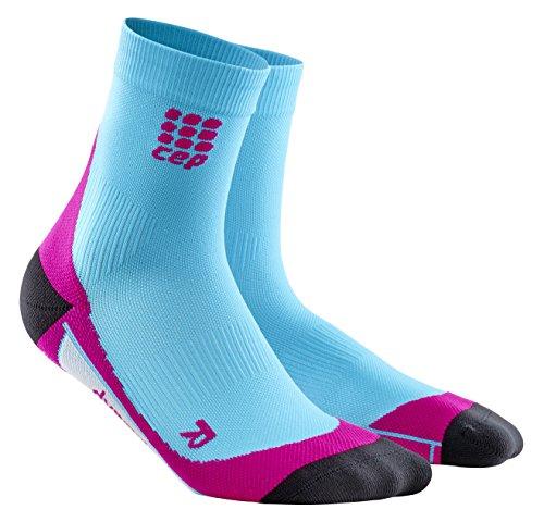 CEP Women's Dynamic+ Compression Run Socks, Hawaii Blue/Pink, Size IV