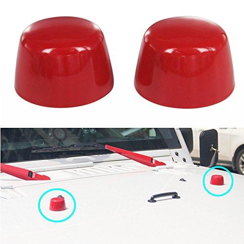 Bestong ABS Front Windshield Stops Hood Loop Cap Cover for 2007-2017 Jeep Wrangler jk 4-Door 2-Door (Front Windshield Stops Cover, Red)