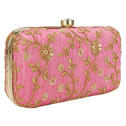 (Hand Crafted Designer Box Clutch with Zari Embroidery Work on Silk Texture Specially Designed (Pink-2))
