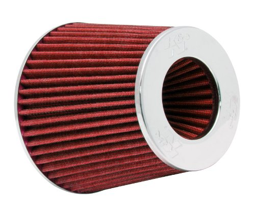 K&N RG-1001RD Universal Clamp-On Air Filter: Round Tapered; 3 in/3.5 in/4 in (102 mm/89 mm/76 mm) Flange ID; 5.5 in (140 mm) Height; 6 in (152 mm) Base; 4.75 in (121 mm) Top