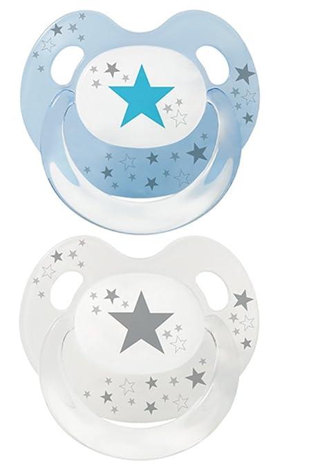 Baby Nova Dental Baby Chupete Aspiradora Slimline Chupete estrellas azul 2 Stk blau und transparent mit grau Talla:Gr .2: von 6 bis 18 Monate