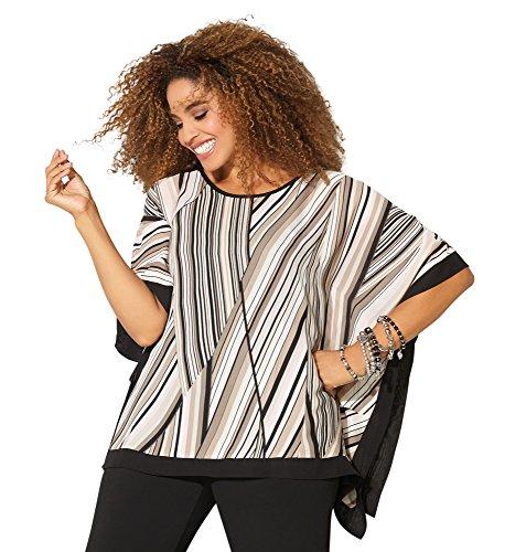 Avenue Women's Pieced Stripe Poncho, 30/32 Multi Color