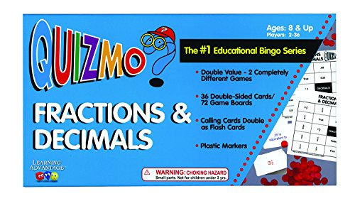 Card Learning Fractions Game - Learning Advantage 8242 QUIZMO Fractions and Decimals Card