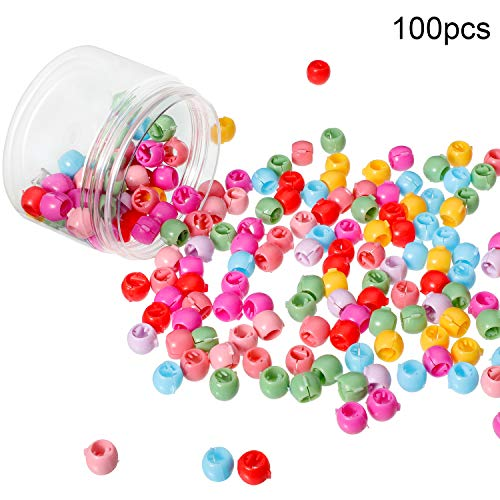 100 Pieces Mini Hair Claw Clips Colorful Bead Hair Pins Clamps Small Plastic Hair Claws for Girls Women Accessory ()