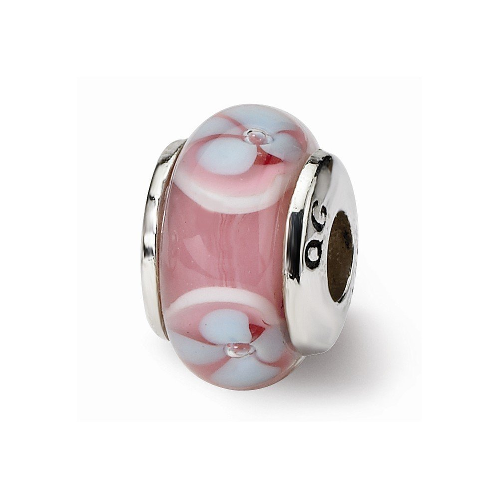 Sterling Silver s Kids Pink Hand-blown Glass Bead by Reflection Beads, Best Quality Free Gift Box