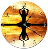 EasySells 10.5'' WOMAN MEDITATION ON SUNSET Clock - Printed Clock - Large 10.5'' Wall Clock - Home Décor Clock