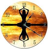 EasySells 10.5'' WOMAN MEDITATION ON SUNSET Clock - Printed Clock - Large 10.5'' Wall Clock - Home Décor Clock