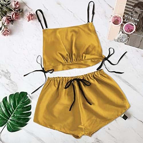 TIFENNY Women's Satin Silk Bowknot Camisole Shorts Set Sleepwear Pajamas Bandage Lingerie Sets New Sling Bandage