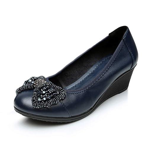 Mujeres Cuñas Mocasines Zapatos Sexy Bowtie Tacones Altos Plataforma Slip-On Piel Vaca Bombas Casual Elegante Oficina Suave Calzado: Amazon.es: Zapatos y ...
