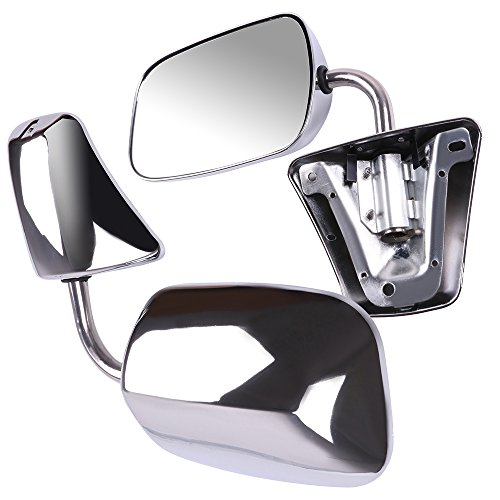 Suburban Chrome Manual Mirror - ECCPP Pair Set for 1973-91 Chevy/Chevrolet GMC Jimmy Suburban C10 20 30/C/K1500 2500 3500/C15 25 35 Manual Stainless Mount Folding Chrome Side Mirrors