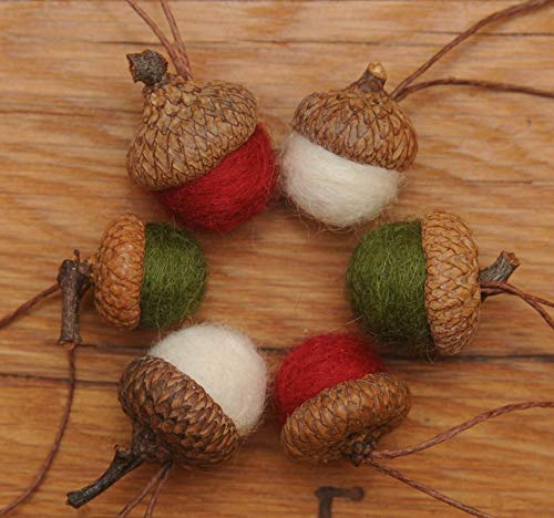 Wool Felted Acorn Christmas Ornaments, Set of 6 Red Green & White, also available without hangers