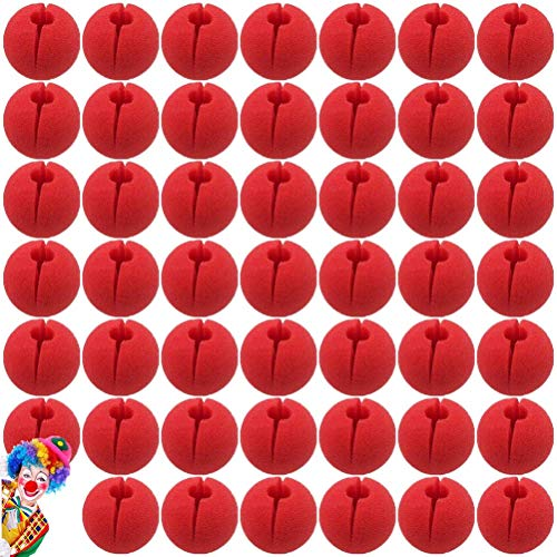 SUSHAFEN 48Pcs Red Clown Nose Foam Circus Comic Nose Mask Party Supplies for Halloween Trick Party Cosplay Costume Magic Dress Party Supplies,5cm/2