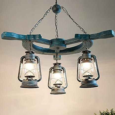 Ara?a de madera de estilo mediterráneo creativo lámparas ...