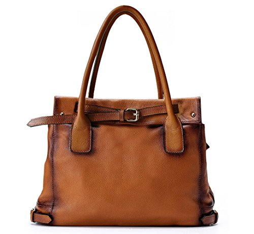 La Poet Genuine Leather Shoulder Tote Bag (Camel) by La Poet