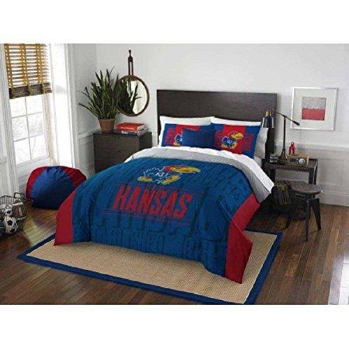 3pc NCAA Kansas Jayhawks Comforter Full/Queen Set, Team Logo, Fan Merchandise, College Basket Ball Themed, Sports Patterned Bedding, Team Spirit, Blue Red Yellow, University Kansas by OSD