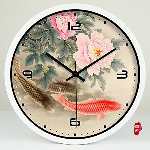 (TNKML Large Indoor Decorative Wall Clock Vintage Peony Creative Clocks Quartz Clock Country Mute Classic Living Room Kitchen Art Garden Clock 175, 16 Inches, White Metal Border)