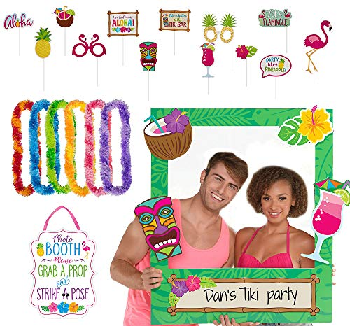Party City Tiki Photo Booth Supplies, Include a Photo Booth Sign, Props, 6 Colorful Leis, and a Giant Photo Frame]()
