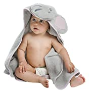 Little Tinkers World Pink Elephant Hooded Baby Towel, Natural Cotton, 30x30-Inch Size (Pink, Small)