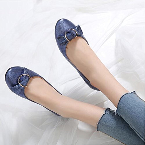 Korean Head Beans Students Autumn Bow The Wild Mouth Flat Shallow Soy Shoes Shoe New The KHSKX Version Tie Single Of Bottom And University Round 41 Spring Women'S Summer Blue pvnXgq8A