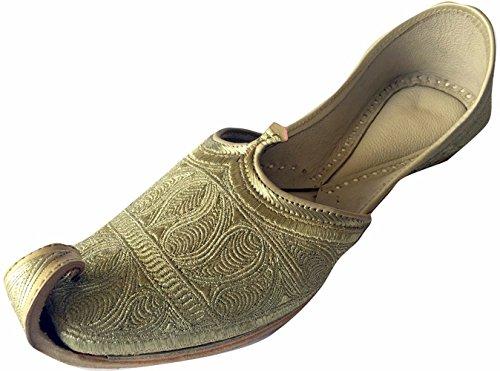 Schritt N Style Herren s Flaches Full Gold Zari Khussa Schuhe pakistanischen Stil Panjabi jutti