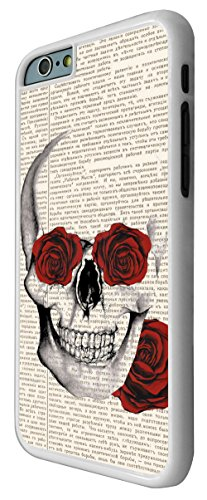 572 - Funky Sugar Skull vintage News paper flower Rose eyes Design iphone 6 6S 4.7'' Coque Fashion Trend Case Coque Protection Cover plastique et métal - Blanc