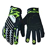Ezyoutdoor Unisex Breathable Elastic Full Finger Cycling Gloves Light Silicone Gel Pad Riding Gloves Bike Gloves Mountain Bike Gloves,Green/Large