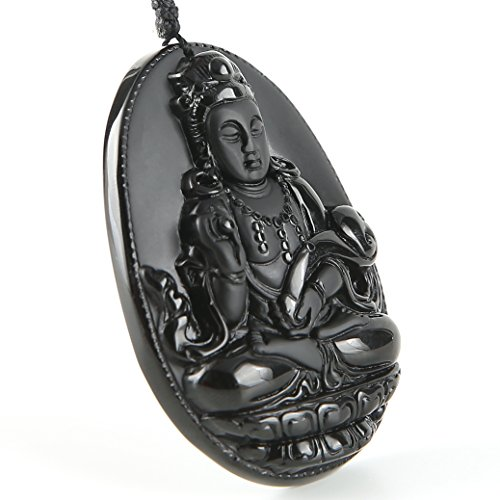 Hand Carved Natural Genuine Obsidian Goddess of Mercy Buddha Pendant necklace