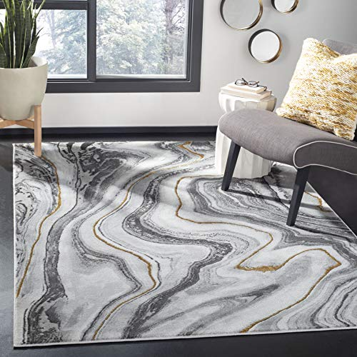 Safavieh Craft Collection CFT819F Modern Abstract Non-Shedding Living Room Bedroom Dining Home Office Area Rug, 5'3″ x 7'6″, Grey / Gold