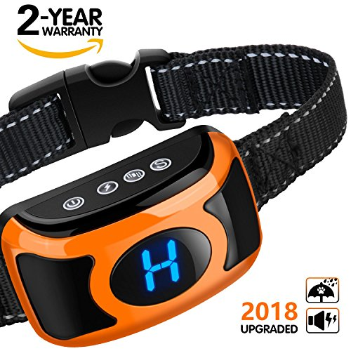 Dog Shock Bark Control Collar - 2018 Upgraded Rechargeable No Bark Collar with Smart Chip, Large LED Display, Beep, Vibration, Harmless Shock, 3 Sensitivity Levels for Small Medium Large Dogs, Red by MOSPRO